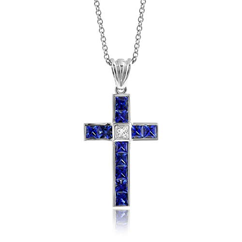 18K White Gold 2.09ct TGW Blue Sapphire and Diamond Cross Necklace
