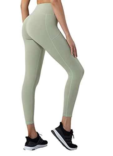 Mallas De Deporte De Mujer,Pantalones de Yoga de Cintura Alta, Pantalones Deportivos de Fitness Leggings-Verde_Metro