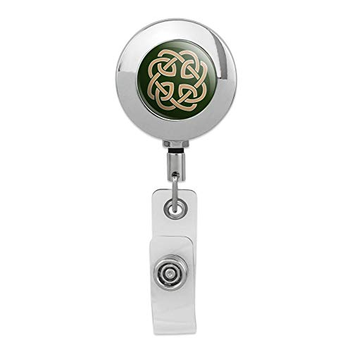 Celtic Knot Love Eternity Retractable Reel Premium Metal Chrome Badge ID Card Holder Clip