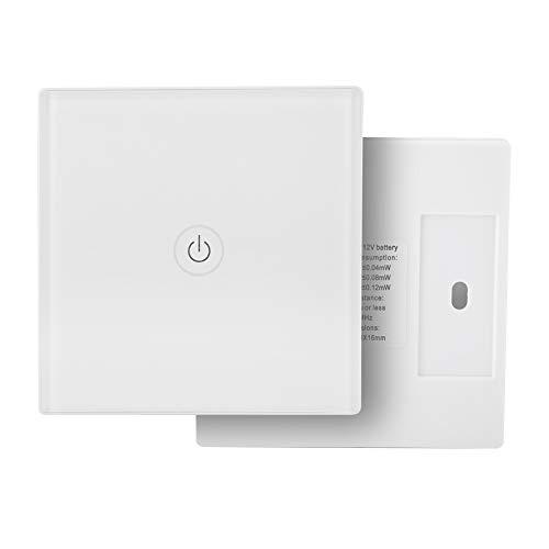 Interruttore remoto senza fili della luce, Touch Wireless Intelligence Interruttori da parete, 12 V 1 modo luce pannello interruttore a parete con ricevitore per Smart Home (bianco)