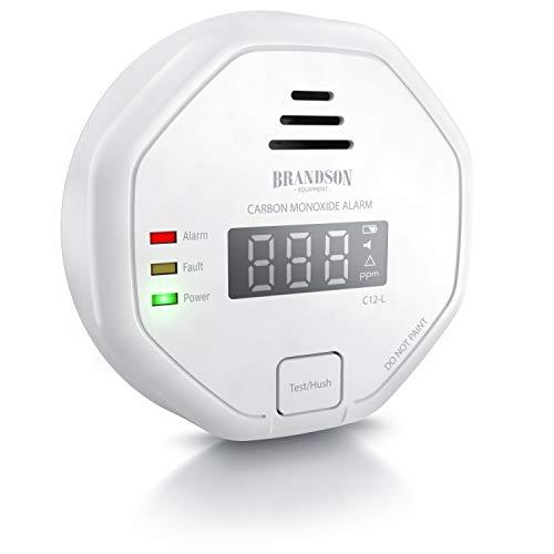 Brandson - Kohlenmonoxid Melder CO Alarm - Kohlenmonoxid Warnmelder - LCD Display – Lauter Alarm 85 dB – Testschalter - nach DIN EN50291 Zertifiziert - batteriebetrieben - Weiß