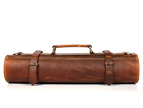 Leather Knife Roll Storage Bag, Elastic and Expandable 10 Pockets, Adjustable/Detachable Shoulder Strap, Travel-Friendly Chef Knife Case (Leather - Light Brown)