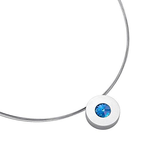 Heideman Halskette Damen Lumen aus Edelstahl Silber farbend matt Kette für Frauen mit Swarovski Stein Kristall Saphir hell blau im Fantasie Edelsteinschliff 10mm