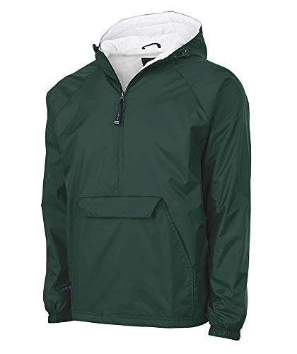 Charles River Apparel Wind & Water-Resistant Pullover Rain Jacket (Reg/Ext Sizes), Forest, XXL
