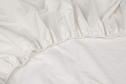 Kayori Shizu Perkal Spannbettlaken für Boxspringtopper 12cm Steg Größe 160x200cm Farbe Offwhite Percale-Baumwolle Topper  Boxspringbet  Betttuch  Spannbetttuch  Perkal-Baumwolle