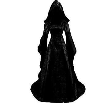Women s Gothic Cosplay Dress Hooded Vintage Medieval Floor Length Renaissance Medieval Costume Dresses
