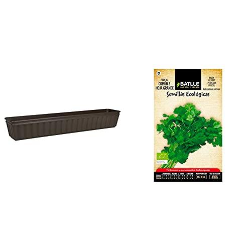 Emsa 959102400 Balcone Jardinera (100 Cm), Color Marrón + Semillas Batlle Semillas Ecológicas Aromáticas Perejil Común 2 Hoja Grande Eco Batlle
