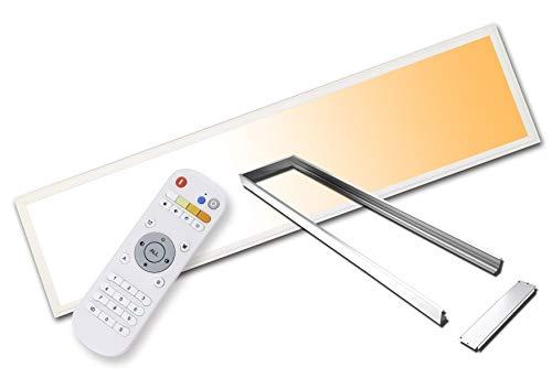 LED Panel farbwechsel - dimmbar TXL©PowerPLUS 120x30cm 60 Watt absolut flimmerfreies Licht Helligkeit bis 7000 Lumen im weißen Aluminium-Aufputzrahmen mit Fernbedienung