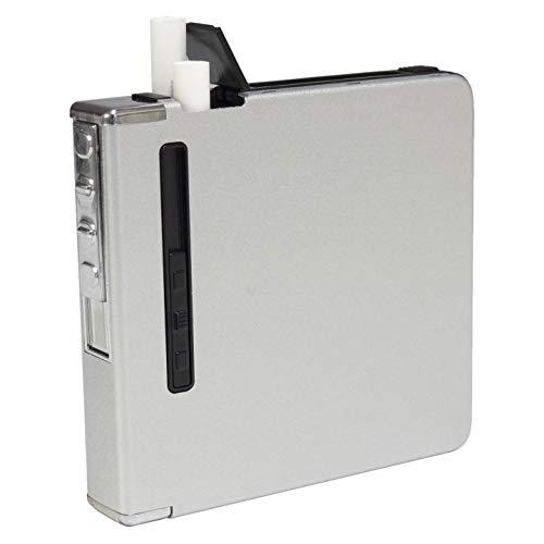 シガレットケース 20本 収納可能 タバコケース 電熱 ライター おしゃれ スリム USB充電 防湿 防風 メンズ レディース (シルバー×サンドパターン) PR-CIGARETTES-SV