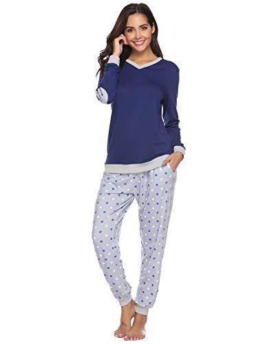 Abollria Pijama Mujer Algodón 2 Piezas Set V-Cuello Conjunto de Pijamas de Manga Larga Jogging Estilo Ropa de Dormir Azul Marino,S