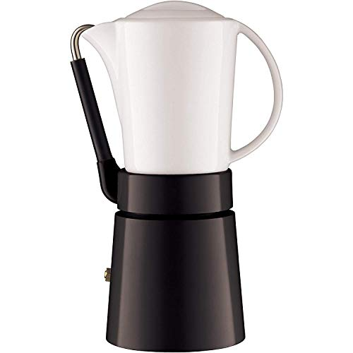 aerolatte Espressokocher mit Porzellankanne und Aluminium-Basis, Für 4 Tassen, Schwarz/Weiß