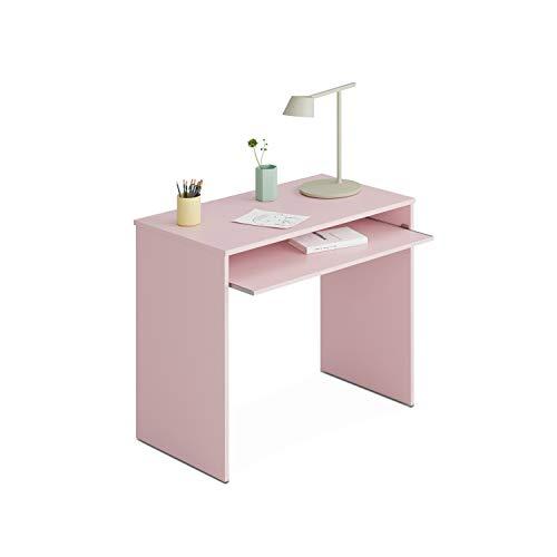 Habitdesign Mesa de Ordenador con Bandeja extraíble, Mesa Escritorio Juvenil, Modelo I-Joy, Color Rosa Nube, Medidas: 90 cm (Ancho) x 54 cm (Fondo) x 79 cm (Alto)