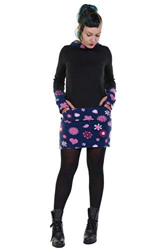 3Elfen Winter Hoodie Kleid Kapuzenkleid Damen Sweatkleid Baumwolle Casual leger Kapuze schwarz M Navy pink Lady