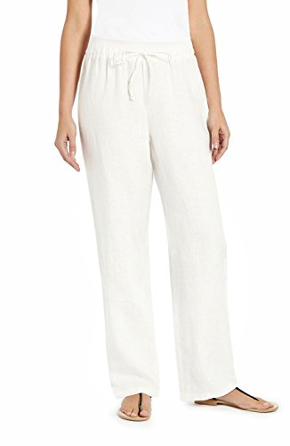 Ellen Tracy Ladies Drawstring Linen Pant (Assorted Colors) (XXL, Chalk)