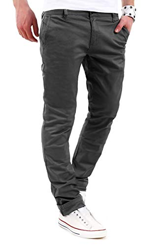 behype. Herren Basic Chino Jeans-Hose Stretch Regular Slim-Fit 80-0310,Dunkelgrau,38W / 34L