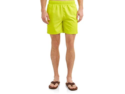 Mens Solid Colored Swim Shorts (Large 36/38, Soft Sulfur)