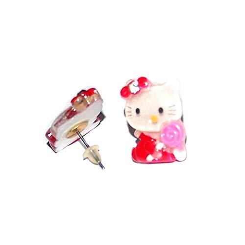 Orecchini da bambina Hello Kitty vestito rosso cristallo chiaro