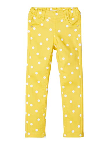 NAME IT Mädchen NMFPOLLY TWIATINNA AOP Legging CD Hose, Aspen Gold AOP:AOP with Bright White DOTS, 110