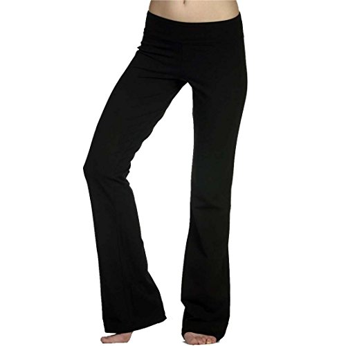 Hollywood Star Fashion Solid Foldover Solid Bootleg Flare Yoga Pants (Medium, Black)