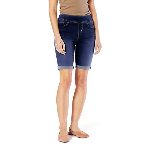 Signature by Levi Strauss & Co. Gold Label Women's Totally Shaping Pull On Bermuda Shorts, Sea and Sky, 14