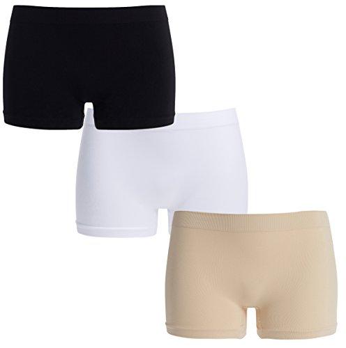 UnsichtBra Damen Panties Mehrpack - Frauen Unterwäsche | Damenunterwäsche - Damen Panty im 3-er Set | Wohlfühl Pantys | Damen Boxershorts (Schwarz,Weiss,Beige, S-M)
