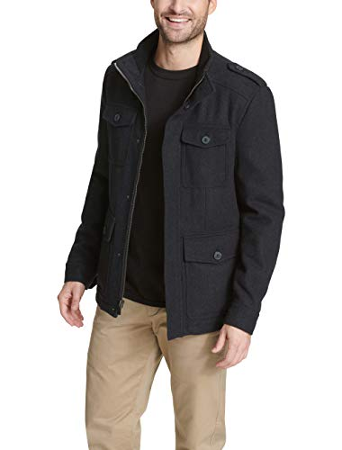 Dockers Men's Wool 4 Pocket Military Jacket, Charcoal, Small