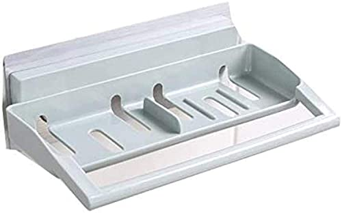 New Toallero Estante para ducha de baño, paquete de 2, toallero, barra, canasta de almacenamiento de plástico, cinta adhesiva sin rastros, sin perforaciones, cocina, baño, anillo de mano (Color: Azul)
