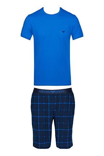 Emporio Armani Underwear Herren Loungewear - Patter Mix Pyjamas Zweiteiliger Schlafanzug, Blau (SCOZ.Marine/OLTREMAR 67535), Large (Herstellergröße:L)