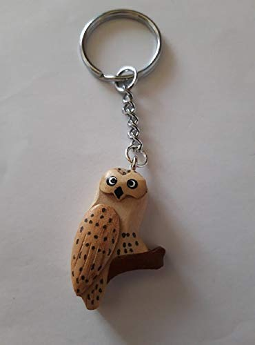 Storchenlädchen Schlüsselanhänger Eule, 9 cm, Holzanhänger, Tier Vogel Eulen
