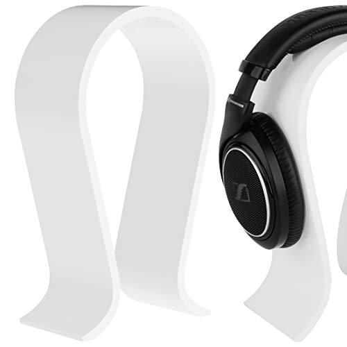 Geekria Acrylic Omega Headphone Stand, Wh-1000XM4/Wh-1000XM3 Stand, Desk Display Hanger, Compatible with Audio-Technica, Sony, AKG, Sennheiser, Studio, More Over-Ear Earphones (White)