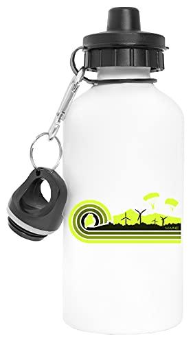 Maine Skydiving Aluminio Reutilizable Deporte Viaje Botella de Agua Blanco Aluminium Reusable Sport Travel Water Bottle White