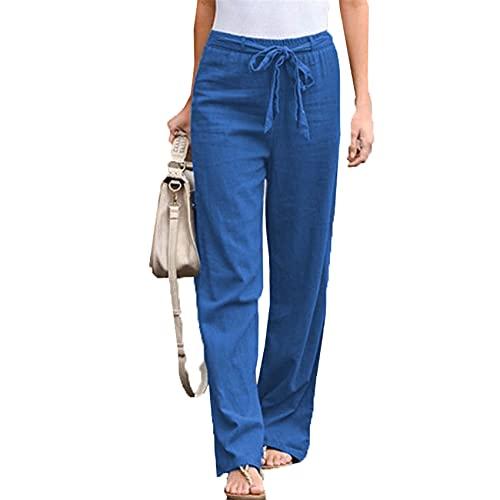 Pantalones Anchos De Pierna Ancha con CinturóN De AlgodóN Y Lino De Color Liso con Cintura EláStica para Mujer Pantalones Sueltos