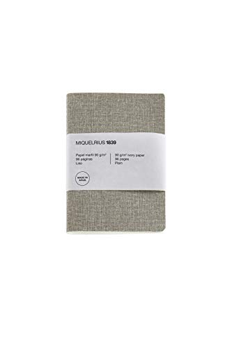 Miquel Rius - Cuaderno reciclado bonito, cubierta de papel con aspecto lino, tamaño A6 105 x 148 mm, 96 páginas lisas de 90 g/m² de color marfil, diseño lino