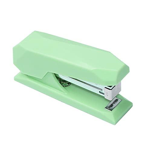Multibey Cute Stapler for Desk Nonslip Angular Desktop Stapler with 950PCS 26/6 24/6 Rose Gold Staples Creative Cute Pink Cover Metallic Rod Office Supplies Gift for Women Teen Girls (Mint Green)