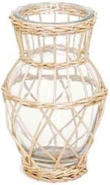 【 2021年 mwlife FlowerVase フラワーベース 】 ウィロー ガラス ベース 花瓶 ガラス 籠付き花瓶 籠網花瓶 籠網ベース フラワー ナチュラルカラー ベージュ 北欧 アジアン エスニック インテリア