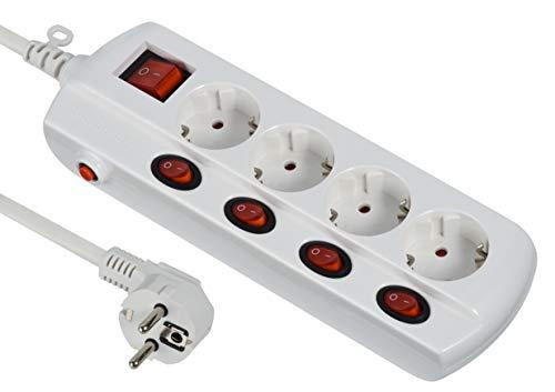 Electraline 62501 Regleta Base múltiple 4 Tomas schuko + 4 1 Interruptor General, Cable 1.5 M, Blanco