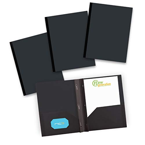 NEW GENERATION - Heavy Duty 3 Prongs Plastic 2 Pocket Folder, 6 Pack Assorted Colors Poly Folders for Letter Size Papers, Includes Built-in Business Card Slot, for School, Home, Work and Storage