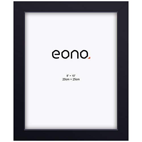 Eono by Amazon - Marco de Fotos de Madera Maciza y Cristal de Alta Definición para Pared o Sobremesa 20x25 cm Negro