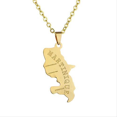 niuziyanfa Co.,ltd Collar con Colgante de Acero Inoxidable con Mapa de Martinica de América del Norte para Hombres/Mujeres, Collar de Mapa del Mundo de Color Dorado, Regalo de joyería