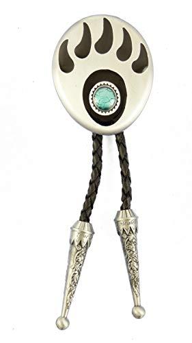 AW-Collection Bolo Tie Western corbata oso Huella piel ajustable con cordón con clip Line Dance