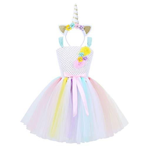 YiZYiF Disfraz Unicornio Niñas Vestido Fiesta Tutú Disfraz Princesa Hada Vestido Unicornios con Diadema Traje Actuación Boda Regalo Cumpleaños 2-12 Años