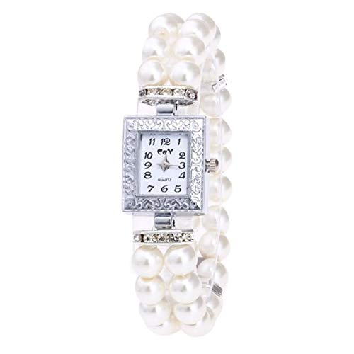 Waterdicht mode Dfch Plein Dial Diamond Pearl Bracelet Watch (blauw)