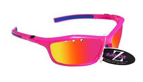 Rayzor–Gafas rosa deportes Wrap Ciclismo Gafas de sol, con un Iridium Vented Rosa Espejo antideslumbrante lente