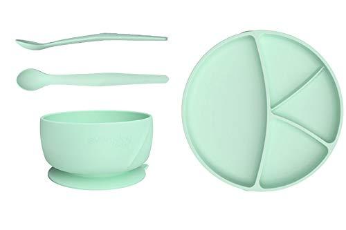 Everyday Baby Esslern Starter-Set, Ab 4 Monate, 1 Silikonschüssel, 1 Silikonteller, 2 Silikonlöffel, Mint Green, 4-teilig, 30822 0301 01