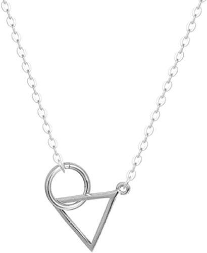 Yiffshunl Collar Collar Coreano Collar Joyería Exquisita Sección Corta Triángulo Simple Collar Redondo Anti-Fade