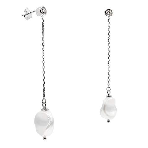 Pendientes de Mujer de Perlas Cultivadas de Agua Dulce Keshi 11 a 12 mm con cadena y Circonita SECRET & YOU - Pendientes largos de Plata de Ley Rodiada de 925 milésimas Grabada.