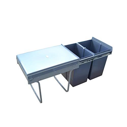 Keuken uittrekbare kast prullenbak, met deksels classificatie prullenbak wastafel kast recycle afvalbak 34x48x41cm(13x19x16inch) A