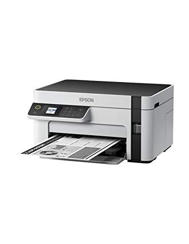Epson EcoTank ET-M2120, Impresora Monocromo Multifunción con WiFi y Depósito de Tinta, Escaner/Copiadora/Impresora, Blanco