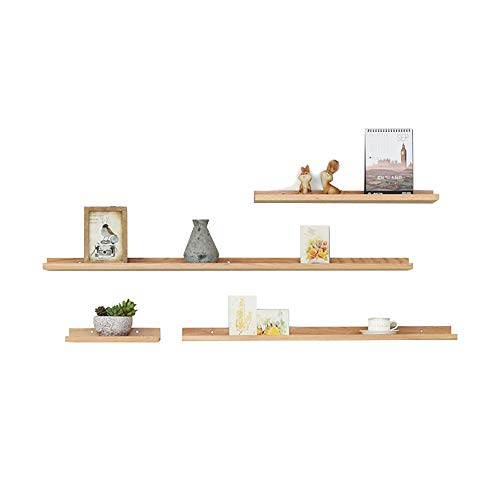 FUFU Rustic Wood Floating Shelves Industrial Wall Mounted Shelving Set Of 4 Wall Storage,suitable For Bedroom, Living Room, Kitchen, Office (Color : B)