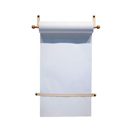 Gadgets Wall Mounted Paper Roll Holder Papier Dispensers voor Kantoor Thuis en Koffie Winkel en Herbruikbaar Rolpapier, 1 Beuken Ophangas, 1 Rollerpapier, 1 Horizontale Vaste Strip WhitePaper